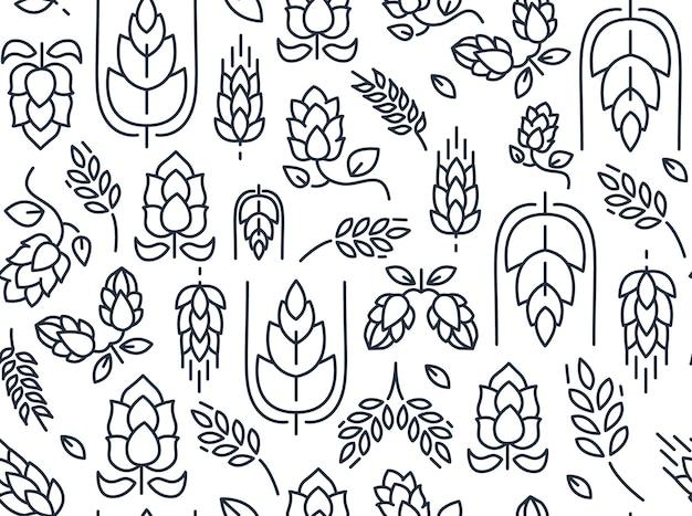 Padrão sem emenda de lúpulo de galhos com imagens repetidas de malte e folhas desenhadas à mão em branco