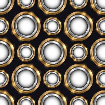 Padrão sem emenda de luxo com círculos geométricos de joias de ouro e prata em fundo preto