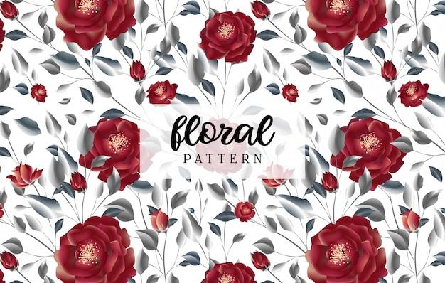 Padrão sem emenda de luxo floral rosa vermelha