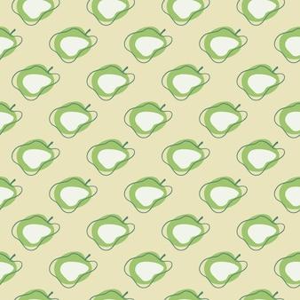 Padrão sem emenda de maçãs abstratas modernas verdes com contornos
