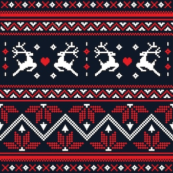 Padrão sem emenda de malha artesanal de natal escandinavo