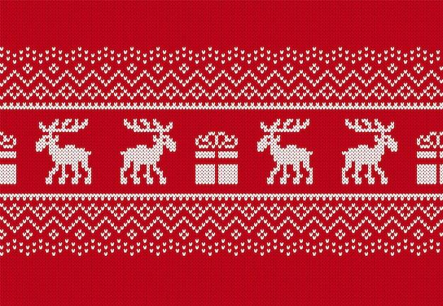 Padrão sem emenda de malha de natal. estampa vermelha com veados e caixa de presente. fundo de suéter de malha