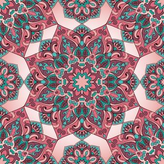 Padrão sem emenda de mandala em um fundo rosa. ornamento oriental colorido.