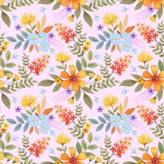Padrão sem emenda de mão colorido desenhado flores