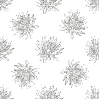 Padrão sem emenda de mão desenhada agave azul. papel de parede de plantas suculentas. gravura estilo vintage.