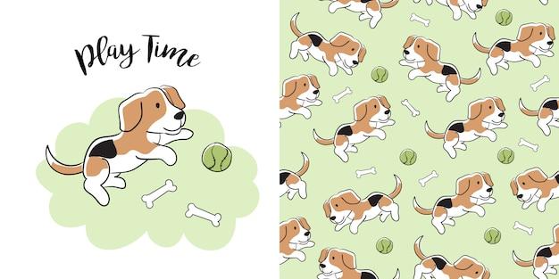 Padrão sem emenda de mão desenhada beagle