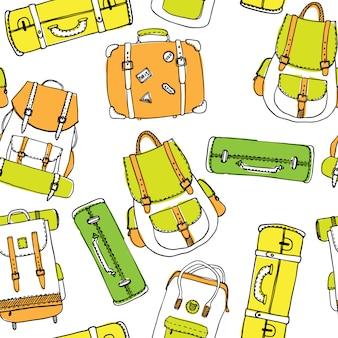 Padrão sem emenda de mão desenhada contorno com mochilas e malas de viagem