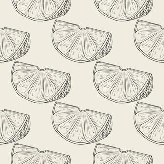 Padrão sem emenda de mão desenhada fatia de limão. papel de parede de limão e frutas cítricas.