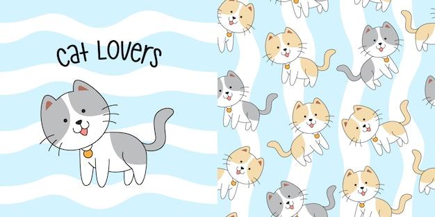 Padrão sem emenda de mão desenhada gato fofo
