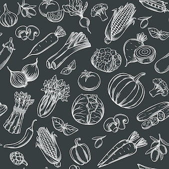 Padrão sem emenda de mão desenhada legumes.
