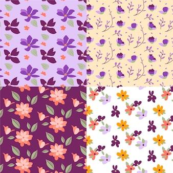 Padrão sem emenda de mão desenhada primavera com flores de campo pequeno
