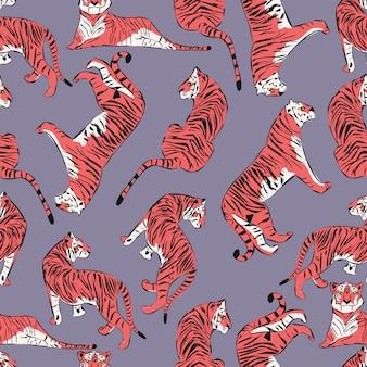 Padrão sem emenda de mão desenhada tigre