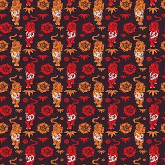 Padrão sem emenda de mão desenhada tigres chineses