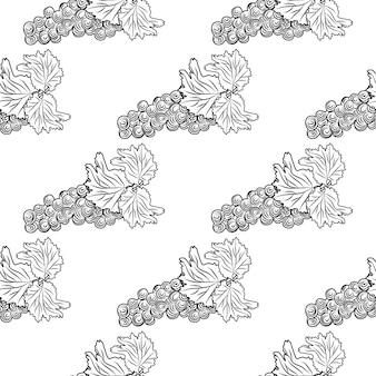Padrão sem emenda de mão desenhada uvas. cacho de uvas em fundo branco. desenho monocromático de fruta fresca. design para papel de embrulho, impressão têxtil. cenário de gravura de estilo vintage. ilustração vetorial