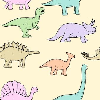 Padrão sem emenda de mão desenhada vector doodle ilustração de dinossauro.