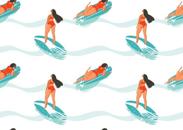 Padrão sem emenda de mão desenhada verão abstrata com garota de surfistas em biquíni, pranchas de surf e textura de ondas do oceano isolada no fundo branco