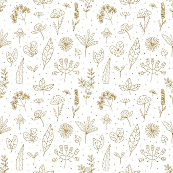 Padrão sem emenda de mão floral doodle desenhado