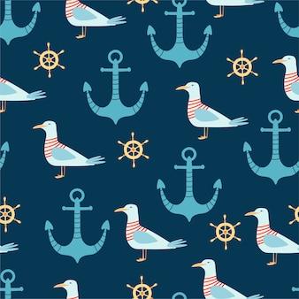 Padrão sem emenda de mar com âncora, gaivota e leme em estilo cartoon.