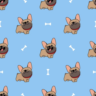 Padrão sem emenda de marrom bonito bulldog francês dos desenhos animados