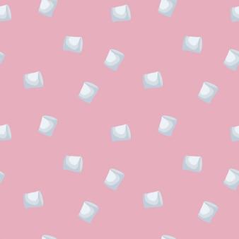 Padrão sem emenda de marshmallows isolado no fundo rosa.