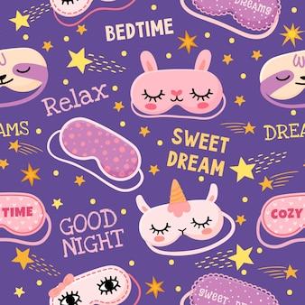 Padrão sem emenda de máscara de sonho. impressão de pijama fofo com máscaras com citações de olhos de menina, unicórnio, coelho, estrelas e bons sonhos. desenho vetorial aconchegante para papel de parede e tecido de desenhos animados infantis