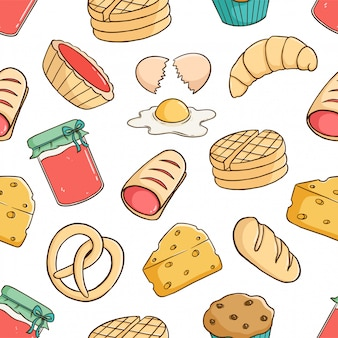 Padrão sem emenda de massa saborosa café da manhã com ovo, pão, geléia de morango e queijo