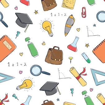 Padrão sem emenda de material escolar bonito usando arte doodle