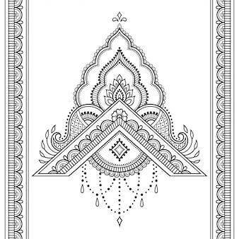 Padrão sem emenda de mehndi flor e fronteira para desenho e tatuagem de hena.