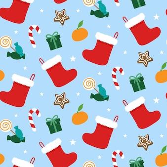 Padrão sem emenda de meias de natal. meias de inverno férias papai noel para presentes.