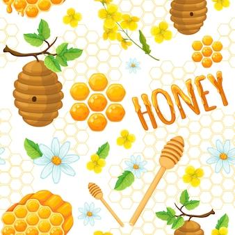 Padrão sem emenda de mel com elementos de flores do favo de mel e ilustração vetorial de insetos
