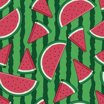 Padrão sem emenda de melancia fresca original e na moda.