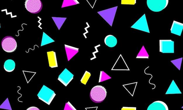 Padrão sem emenda de memphis. fundo divertido. cores rosa, azul e amarelo. padrões de estilo de memphis. ilustração vetorial. padrão sem emenda. fundo colorido abstrato do divertimento. estilo moderno dos anos 80-90.