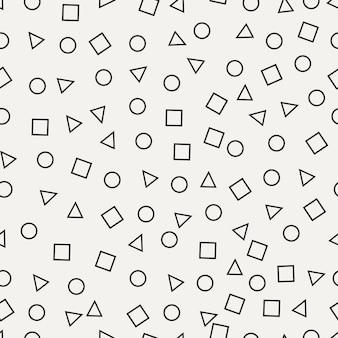 Padrão sem emenda de memphis. fundo retro abstrato com círculo, quadrado, triângulo. pano de fundo geométrico para produtos têxteis. ilustração vetorial.