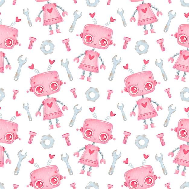 Padrão sem emenda de menina robô rosa bonito de desenho animado
