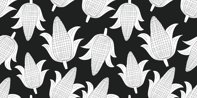 Padrão sem emenda de milho desenhado de mão. ilustração de vegetais frescos dos desenhos animados orgânicos.