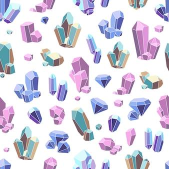 Padrão sem emenda de minerais de cristal