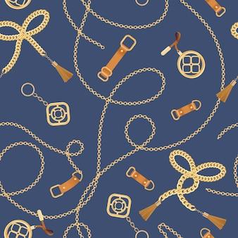 Padrão sem emenda de moda com correntes douradas e alças. elementos de corrente, trança e joias fundo para design de tecido, têxtil, papel de parede. ilustração vetorial
