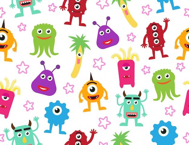 Padrão sem emenda de monstros de bonito dos desenhos animados