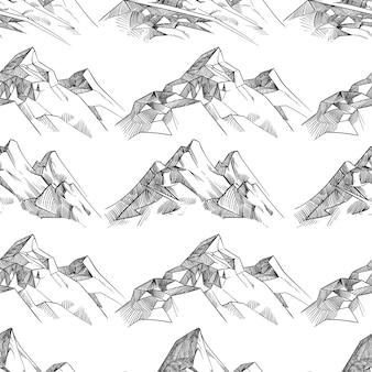Padrão sem emenda de montanhas esboçadas a lápis