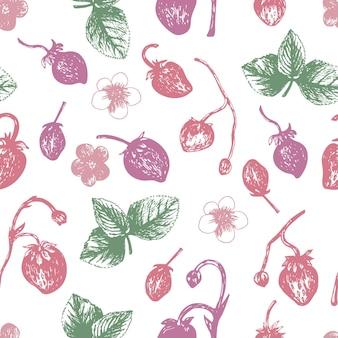 Padrão sem emenda de morangos estilo desenhado na mão. ilustração vetorial, doodle de verão em fundo branco. frutas frescas para menu sazonal, design de sobremesa, livros de culinária.