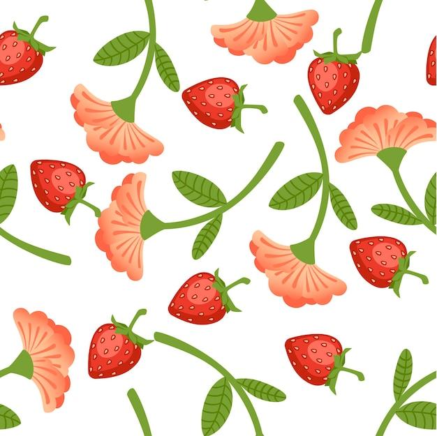 Padrão sem emenda de morangos silvestres e ilustração em vetor plana flor vermelha em fundo branco.