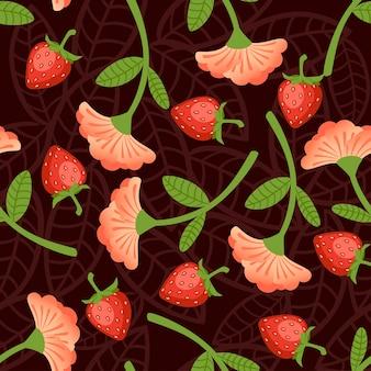 Padrão sem emenda de morangos silvestres e ilustração em vetor plana flor vermelha em fundo marrom.