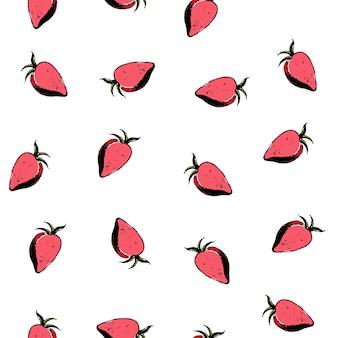 Padrão sem emenda de morangos vermelhos em fundo branco. ilustração colorida do vetor.