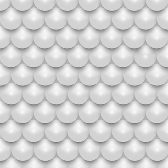 Padrão sem emenda de mosaico de pérola realista brilhante 3d branco