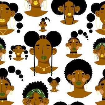 Padrão sem emenda de mulheres africanas enfrenta ilustração vetorial plana