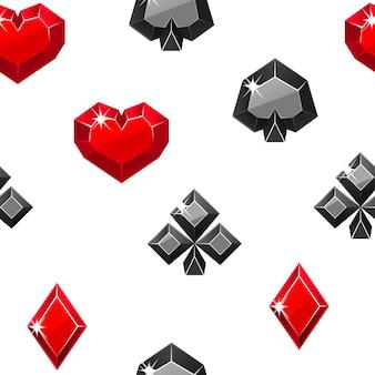 Padrão sem emenda de naipes de cartão precioso. ilustração de símbolos de cassino vermelho e preto.