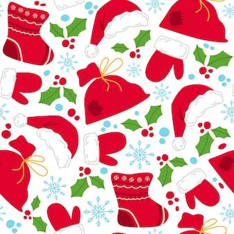 Padrão sem emenda de natal - bolsa de presentes, luvas, chapéu de papai noel, azevinho e flocos de neve
