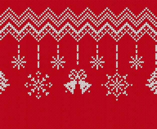Padrão sem emenda de natal. borda vermelha tricotada. ilustração vetorial.