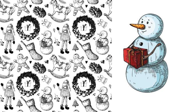Padrão sem emenda de natal. brinquedos, boneco de neve, grinalda e outros elementos de natal. sketch vector