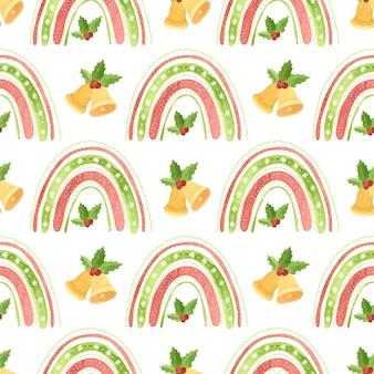 Padrão sem emenda de natal com arco-íris tocando sinos e folhas de azevinho papel digital de férias